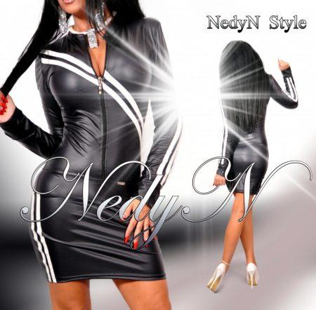 NedyN sötétkék bőrhatású női ruha