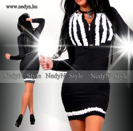 NedyN fehér   fekete  fodros  elegáns    POLY női ruha