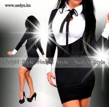 NedyN fehér   fekete   nyakánál megkötős elegáns    POLY női ruha