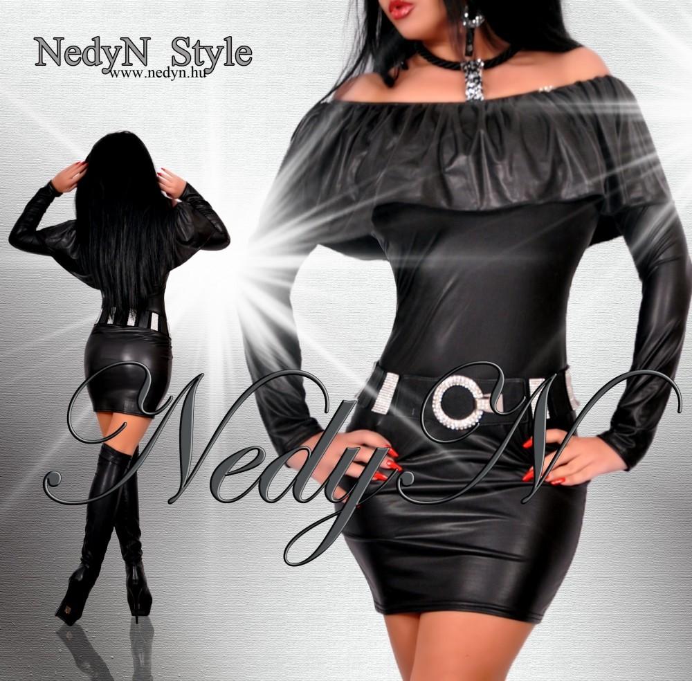 NedyN bőrhatású vállra húzható női ruha-tunika