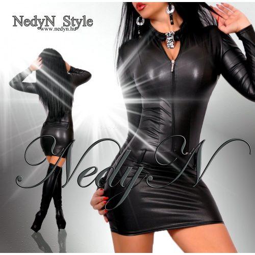 NedyN bőrhatású cipzáras női ruha