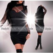 NedyN fekete nagy pöttyös elegáns poliamid női ruha