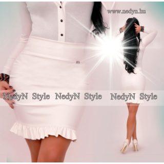 NedyN fodros műbőr női szoknya fehér