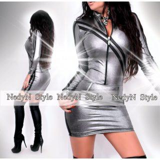 NedyN ezüst bőrhatású kétpántos női ruha cipzáros