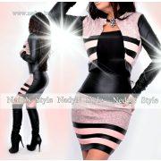 Nedyn fekete-barack műbőr hatású 3 csíkos női szoknya és blézer szett
