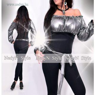NedyN fekete-ezüst vállra húzható buggyos női overál