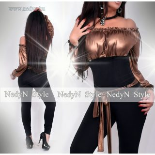 NedyN bronz vállra húzható alkalmi női overál