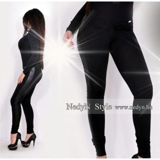 NedyN fekete poliamid legging fekete bőrhatású pánttal