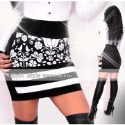 NedyN fekete alapon fehér mintás 3 csíkos női szoknya