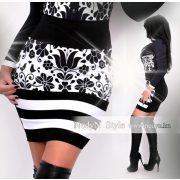 NedyN fehér alapon fekete mintás 3 csíkos női szoknya