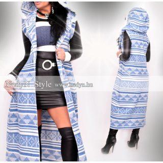 NedyN kék fehér mintás hosszú női mellény rövid szőrme díszes kapucnival