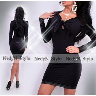 NedyN fekete poliamid mellénél megkötős női ruha bőrhatású díszítéssel