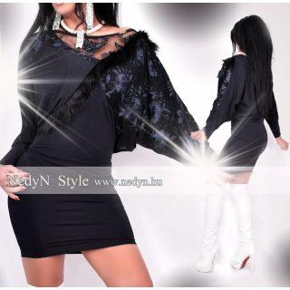 NedyN fekete  denevér ujjú csipkés női ruha fekete szőrme hatású dísszel