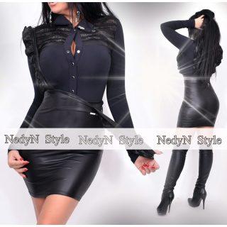 NedyN fekete bőrhatású Kata női ing ezüst fekete dísszel