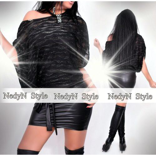 NedyN fekete ezüst szálas Kalapos női ruha
