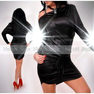 NedyN fekete fényes megkötős Panka női ruha