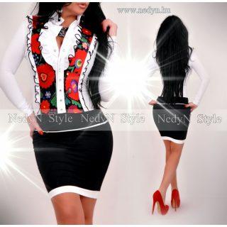 NedyN fehér virág mintás zsabós női ruha fekete