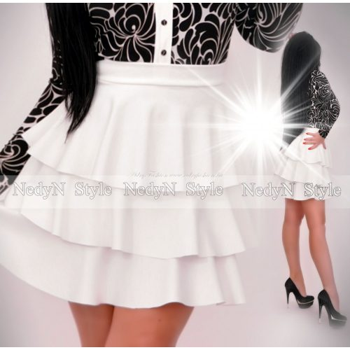 NedyN fehér 3 fodros puntó női szoknya