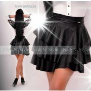 NedyN fekete bőrhatású  szoknya  3 fodros  női szoknya