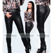 Fekete színű sztreccs bőrhatású legging