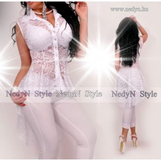 NedyN fehér csipkés fodros női ing