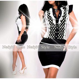 NedyN fekete fehér pöttyös zsabós női ruha