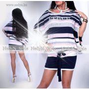 NedyN kék rózsaszín csíkos Kalapos női ruha strassz dísszel