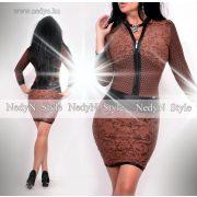 NedyN barna fekete mintás álló galléros cipzáros női ruha