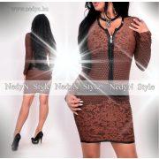 NedyN barna fekete mintás cipzáros női ruha