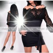 NedyN fekete poliamid női ruha pöttyös tüllös