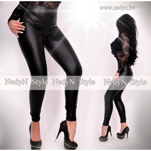 NedyN bőrhatású legging fekete - magas derekú