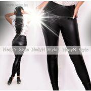 Nedyn fekete bőrhatású tűzött nadrág magas derekú