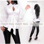 NedyN fehér puplin ing elöl megkötős hosszú ujjú