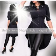 NedyN fekete színű fodros hátul hosszított női ing