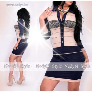 NedyN barna kék mintás Kata női ruha