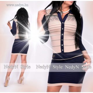 NedyN barna kék színű csíkos Kata női ruha