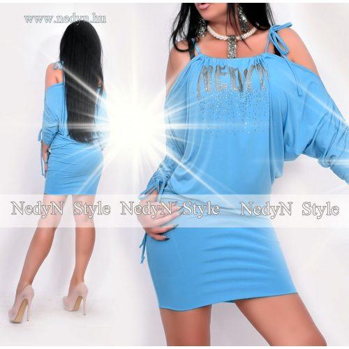 NedyN kék színű kövezett vállnál nyitott női ruha