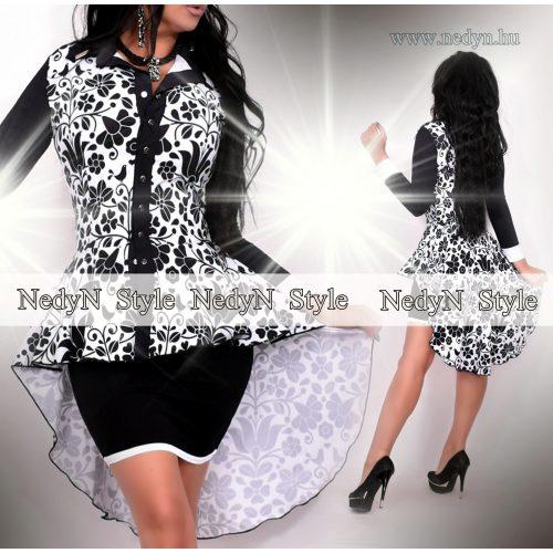 NedyN fehér fekete matyó mintás hosszított ing