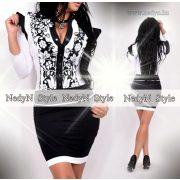 NedyN fekete fehér matyó mintás zsabós fodros alkalmi női ruha