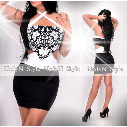 NedyN fekete fehér matyó mintás oldalán nyitott alkalmi ruha