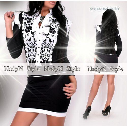 NedyN fekete fehér zsabós női ruha matyó mintás