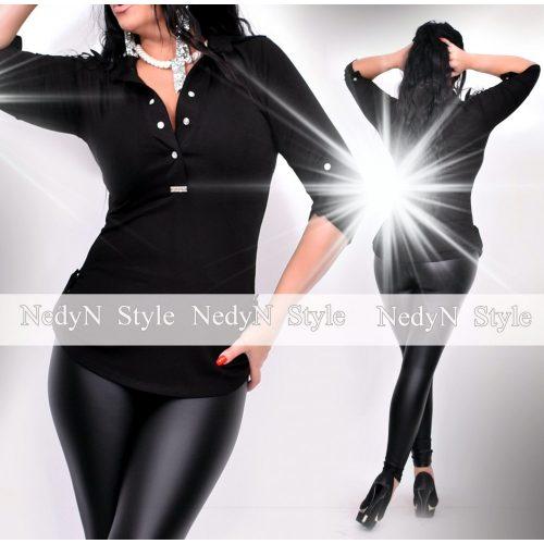 NedyN fekete patentos női ing