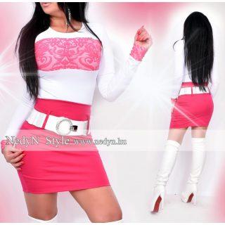 NedyN fehér mellénél rózsaszín mintás felső - szoknya nélkül