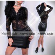 NedyN fekete csipke 3 fodros alkalmi női ruha bőrhatású szoknya résszel