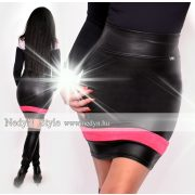 NedyN fekete bőrhatású szoknya pink csíkkal