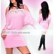NedyN arany strasszos rózsaszín női ruha madzagos