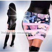 NedyN kék rózsaszín mintás csíkos női szoknya