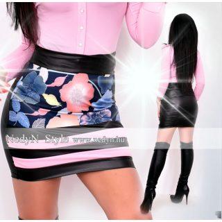 NedyN kék rózsaszín mintás bőrhatású 2 csíkos női szoknya