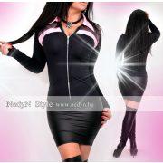 NedyN fekete poliamid terep mintás rózsaszín galléros cipzáros Kata női ing