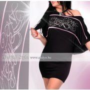 NedyN fekete rózsaszín strassz díszes Évi női ruha
